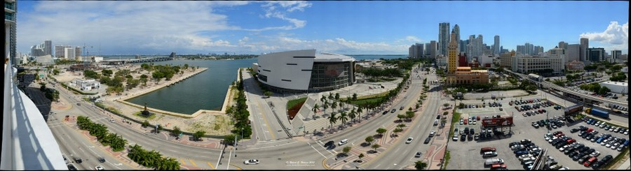 A 248 Degree View Of Biscayne Bay Miami Beach American Airlines Arena And Downtown
