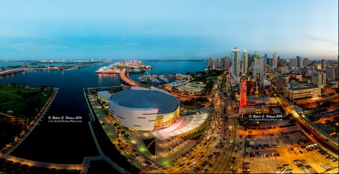 Downtown Miami Bayside Port And South Beach At Dusk